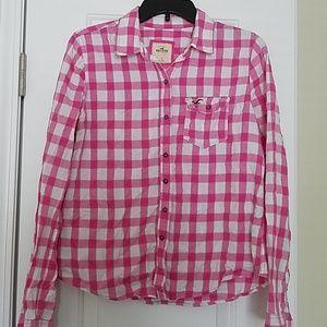 Hollister Pink Button Up shirt